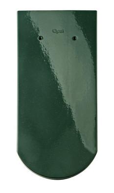 Керамическая черепица Braas (Германия) профиль Опал (бобровый хвост) глазурь зеленая ель