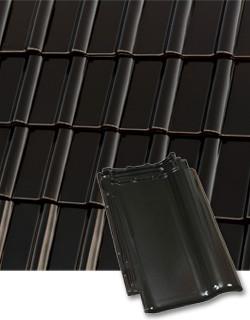 Средневолновая керамическая черепица Roben (Германия) PIEMONT глазурь черно-коричневый глазурованный