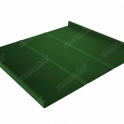 Фальцевая кровля Grand Line Фальц двойной стоячий Профи PE 0,45 мм. RAL 6002 (зеленый лист)