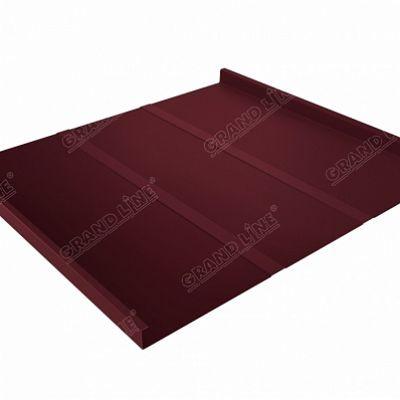 Фальцевая кровля Grand Line Фальц двойной стоячий Профи Quarzit lite 0,5 мм. RAL 3005 (красное вино)