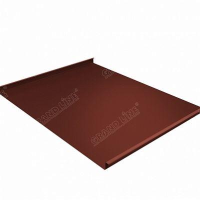 Фальцевая кровля Grand Line Фальц двойной стоячий Atlas 0,5 мм. RAL 8004 (коричневая медь)