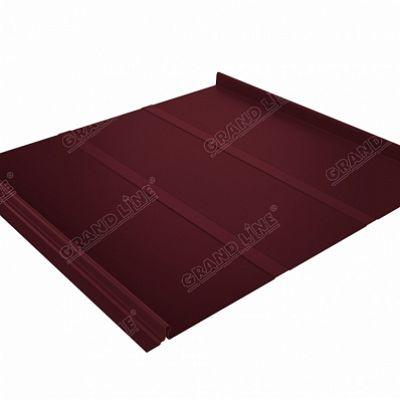 Фальцевая кровля Grand Line Кликфальц Профи Satin 0,5 мм. RAL 3005 (красное вино)