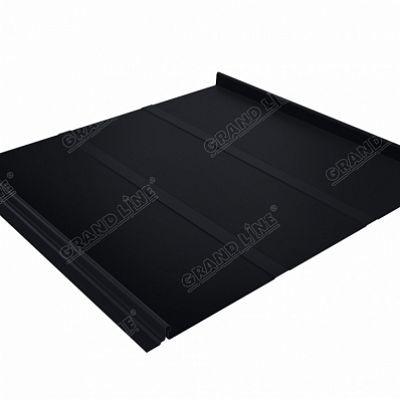 Фальцевая кровля Grand Line Кликфальц Профи Quarzit lite 0,5 мм. RAL 9005 (черный темный)