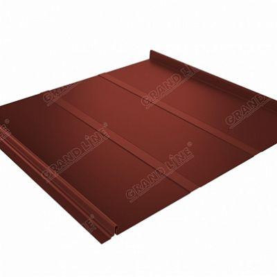 Фальцевая кровля Grand Line Кликфальц Профи Velur20 0,5 мм. RAL 8004 (коричневая медь)