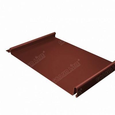 Фальцевая кровля Grand Line Кликфальц Velur20 0,5 мм. RAL 8004 (коричневая медь)