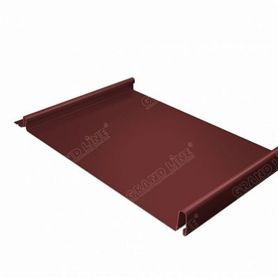 Фальцевая кровля Grand Line Кликфальц PE 0,45 мм. RAL 3009 (красная окись)