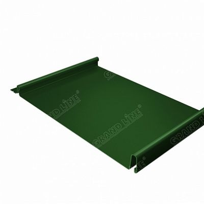 Фальцевая кровля Grand Line Кликфальц PE 0,45 мм. RAL 6002 (зеленый лист)
