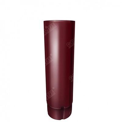 Круглая труба, 3 м. 125x90 мм. Grand Line, цвет Ral 3005 красное вино