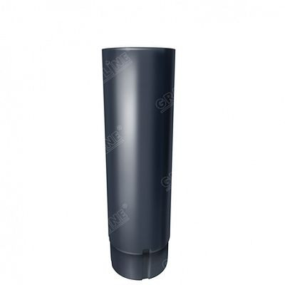 Круглая труба соединительная, 1м. 125x90 мм. Grand Line, цвет Ral 7024 серый графит
