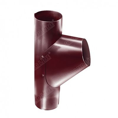 Тройник трубы 125x90 мм. Grand Line, цвет Ral 3005 красное вино