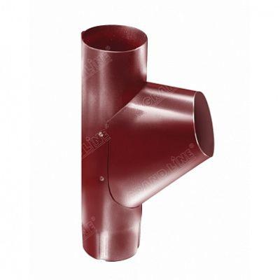Тройник трубы 125x90 мм. Grand Line, цвет Ral 3011 коричнево-красный