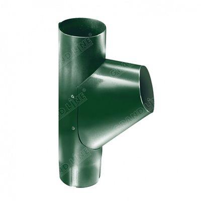 Тройник трубы 125x90 мм. Grand Line, цвет Ral 6005 зеленый мох