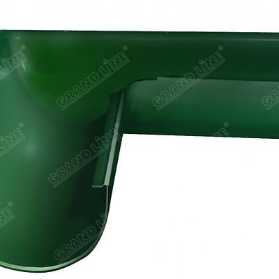 Угол желоба внешний, 90° 125x90 мм. Grand Line, цвет Ral 6005 зеленый мох
