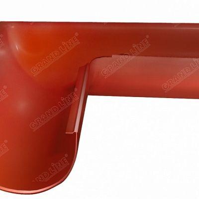 Угол желоба внешний, 90° 125x90 мм. Grand Line, цвет Ral 8004 коричневая медь