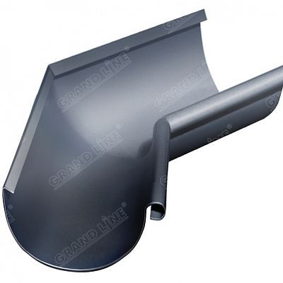 Угол желоба внутренний 135° 125x90 мм. Grand Line, цвет Ral 7024 серый графит