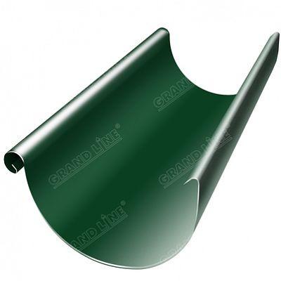 Полукруглый желоб, 3 м. 125x90 мм. Grand Line, цвет Ral 6005 зеленый мох