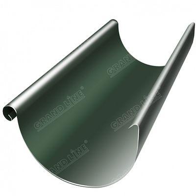 Полукруглый желоб, 3 м. 125x90 мм. Grand Line, цвет RR 11 темно-зеленый